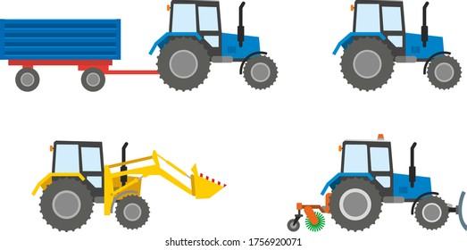 Set of construction equipment: tractor isolated on a white background. The work of a tractor excavator at a construction site, in a quarry, for road works. Flat infographics. Vector illustration