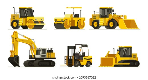 set of construction heavy equipment and machinery vector illustration