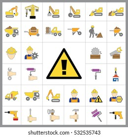Set of Construction Icons. Contains such Icons as Drill, Truck, Worker, Attention Sign, Electric Saw, Gear, Spanner, Paint Roller and more. Editable Vector.Pixel Perfect.