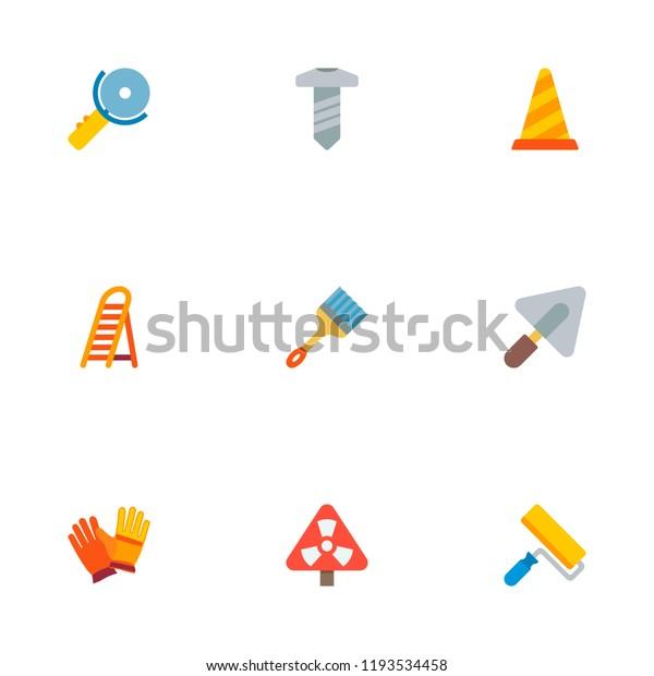 Set Construction Icons Flat Style Symbols Stock Vector