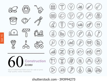 Set of construction icons for web or services. 60 design repair line icons high quality, vector illustration.
