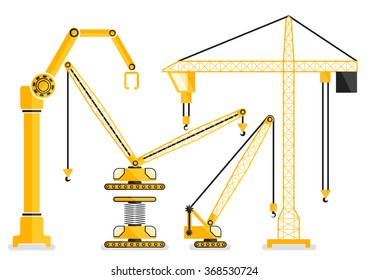 Set of construction machine yellow crane flat design vector illustration