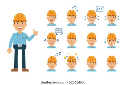 Set of construction man emoticons. Worker avatars showing different facial expressions. Happy, sad, cry, laugh, smile, angry, dizzy, tired, in love and other emotions. Simple vector illustration