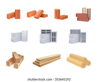 Set of construction materials icons - Vector illustration.
