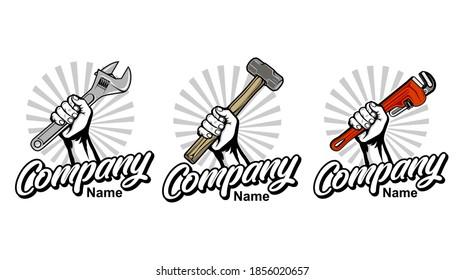 set of construction, plumbing, garage  logo with hand holding hammer, wrench vector inspiration, Design element for logo, poster, card, banner, emblem, t shirt. Vector illustration