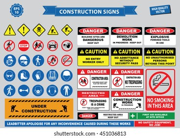Set of Construction sign (warning, site safety, use hard hat,children must not play on this site, no admittance to unauthorized personnel, safety hard helmet, boots and vest must be worn at all times)