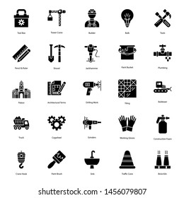 Set of Construction Tools Glyph Icons