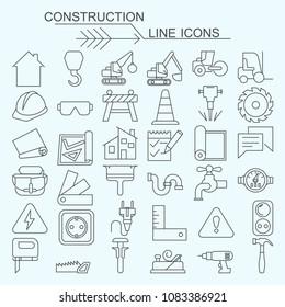 Set construction vector line icons editable stroke