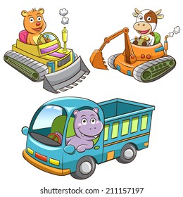 set of construction vehicle animal cartoon.  EPS10 File - simple Gradients