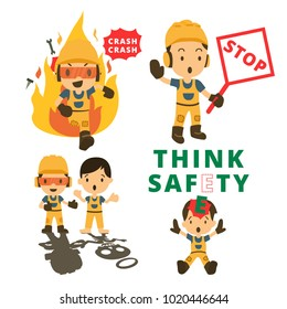 Set of Construction worker, Accident working, safety first, health and safety, vector