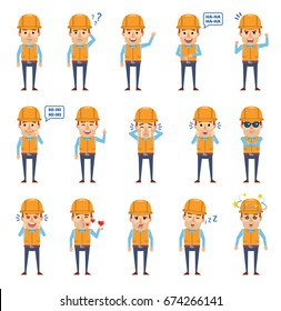 Set of construction worker characters showing various emotions. Funny workman laughing, crying, surprised, dazed, sleepy, angry and showing other emotions. Simple vector illustration