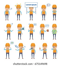Set of construction worker characters showing various actions, emotions. Funny workman holding map, signboard, loudspeaker, sleeping and showing other actions. Simple vector illustration