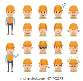 Set of construction worker emoticons showing diverse facial expressions. Happy, sad, angry, surprised, serious, dazed, in love and other emotions. Simple vector illustration