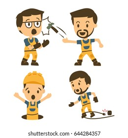 Set of Construction workers, Accident working, safety first, health and safety, vector illustrator