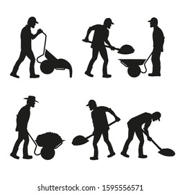 Set of construction workers silhouettes with wheelbarrows and shovels. Vector illustration isolated on white background