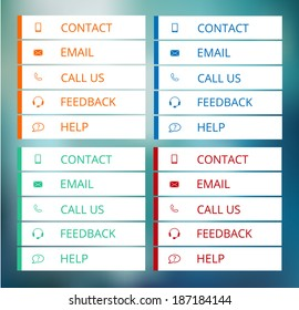 set of contact buttons in flat style, vector illustration