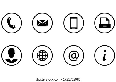 Set of contact buttons icon. Vector illustration EPS 10.