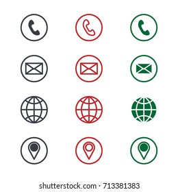 Set of contact detail icon isolated on white background in green, red, and black. Phone, email, global, location icon. EPS10 vector illustration for design element, infographics, business card design.