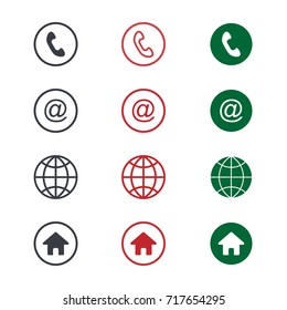 Set of contact detail icon isolated on white background in green, red, and black. Phone, globe, email, location icon. EPS10 vector illustration for design element, infographics, business card design.
