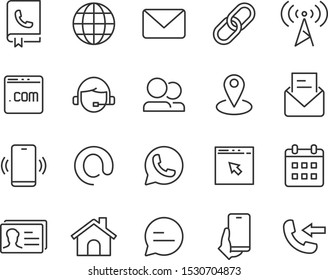 set of contact icons, address, email, news, phone, communication