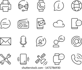 set of contact icons, bubble, address, communication, call, mail, social media