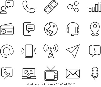 set of contact icons, phone, address, mail, website, company