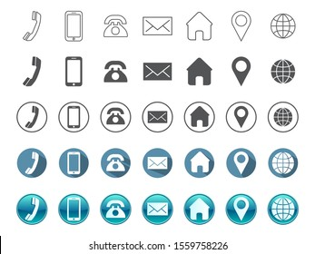 A set of Contact information Icons in 5 styles - Vector Format , all are 35 icons