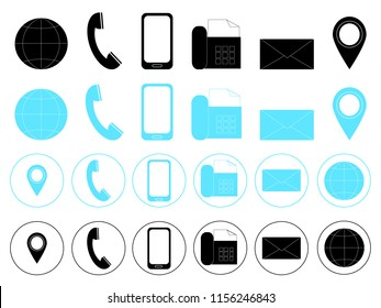 Set of contact information icons. Contact information icon. isolated information icons vector