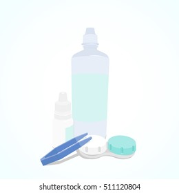 Set of Contact Lenses daily care. Container, daily solution, eye drops and tweezers.