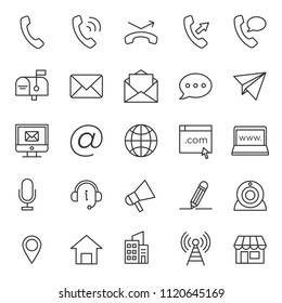 set of contact support icon collection, with simple lined and modern style use for web and application support button sign, editable stroke pictogram, communication, infographic, perfect pixel