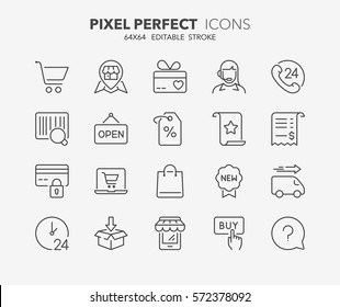 Set of contact and support thin line icons. Contains icons as phone call, customer, 24 hrs, email, faq and more. Editable stroke. 64x64 Pixel Perfect.