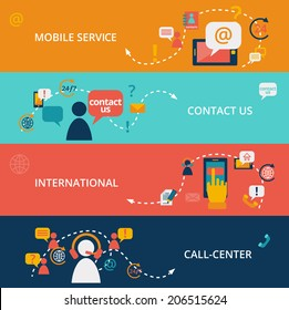 Set of contact us call center business chat communication banners vector illustration