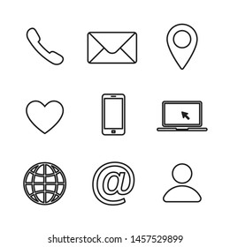 Set of contact us linear icon. Web communication icons isolated. Mail phone location website account internet icon. EPS 10