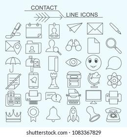 Set contact  vector line icons editable stroke