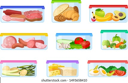 Set of containers with different products. Vector illustration on a white background.