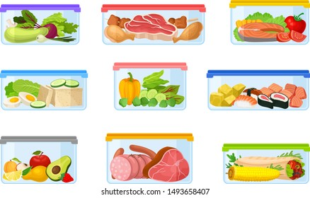 Set of containers with food. Vector illustration on a white background.