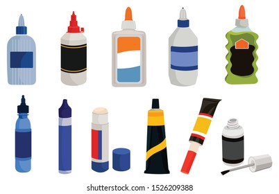 Set of containers with glue.Collection of cans and tubes with adhesive for connecting broken items.Vector illustration for a store.