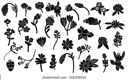 Set contains 33 different flowers, leaves. Flowers made by linocut and then the illustrations was developed digitally. You can create your own beautiful compositions, patterns, illustrations, ornament