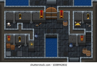 Set contains tiles and objects for creating top down game. With medieval dungeon theme. Suitable for creating fantasy RPG games