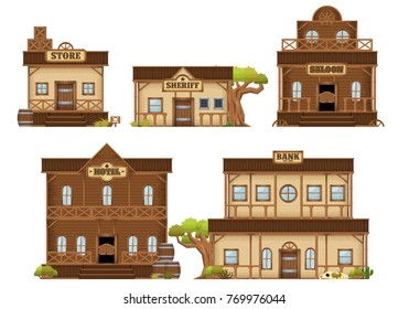 A set contains various western cowboy themed buildings