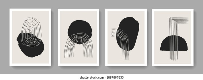 Set of contemporary art prints. Minimalist modern posters collection. Hand painted Mid Century composition vector design.