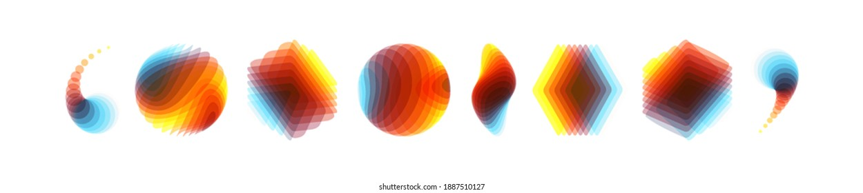 Set of contemporary colour geometric shapes. Abstract vector illustration made of various overlapping elements. Applicable for banners, placards, posters or flyers.