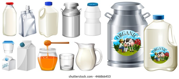 Set of contianers for milk product illustration