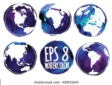 Set the continents of the planet Earth . Earth from different angles . Vector freehand drawing on watercolor background texture .