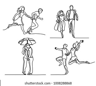Set continuous happy running couple. Continuous line drawing. Vector illustration on white background
