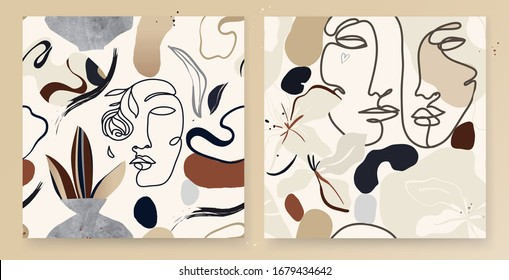 Set of continuous line, drawing faces, fashion minimalist patterns. Modern template for design. Natural pastel colors. Vector EPS10.