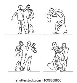Set continuous line drawing. Happy loving couple dancing. Vector illustration