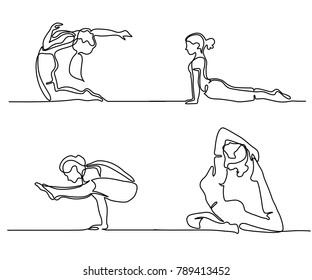 Set Continuous line drawing. Woman doing exercise in yoga pose. Vector Illustration