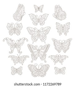Set of contour butterflies in stained-glass style, dark contours on a white background, coloring book