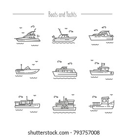 Set of contour icons of ships, yachts, boats.